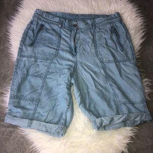 CHICOS Chambray Elastic Waist Bermuda Shorts Sz M